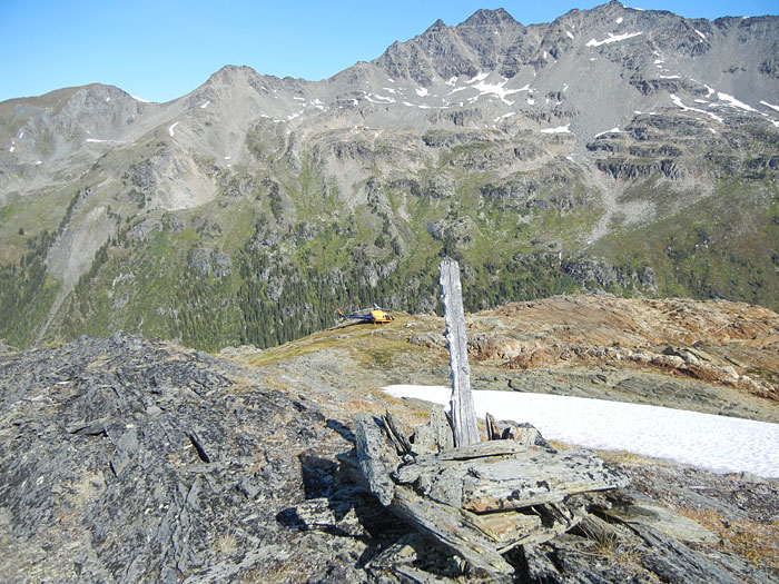 Claim post in International Basin area, BC