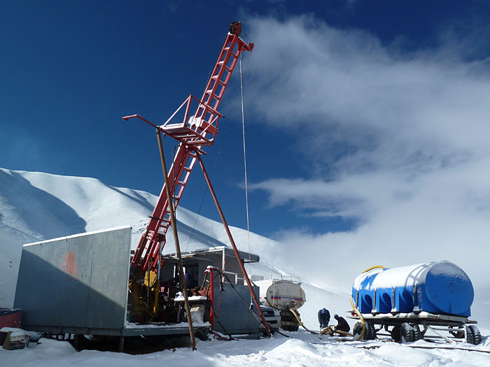 Diamond drill at 5200 metres after a summer snowfall, NW Argentina