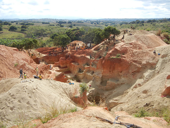 Gorongoza area, Mozambique. Hand-dug open pit.
