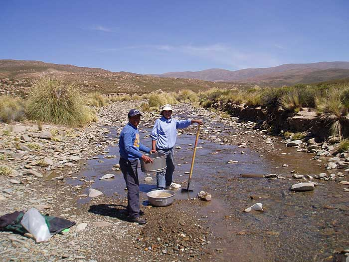 Heavy mineral stream sediment sampling in Argentina