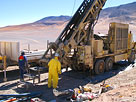 Reverse circulation drilling on a uranium exploration program in Argentina